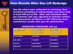 gain results after gas lift redesign