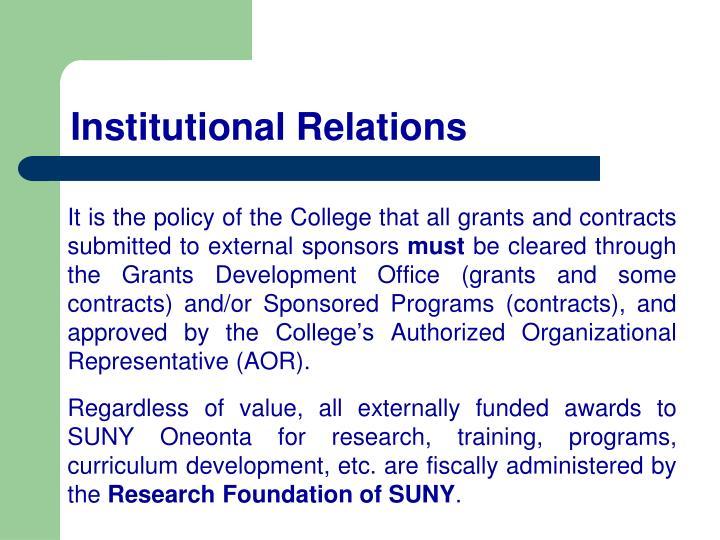 Institutional Relations