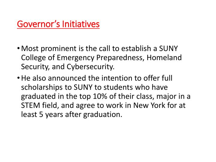 Governor's Initiatives