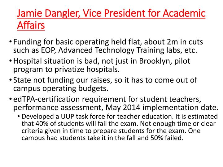 Jamie Dangler, Vice President for Academic Affairs