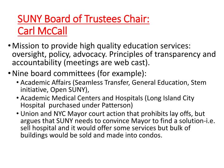 SUNY Board of Trustees Chair: