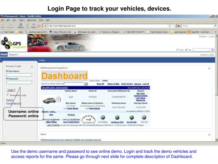Login Page to track your vehicles, devices.