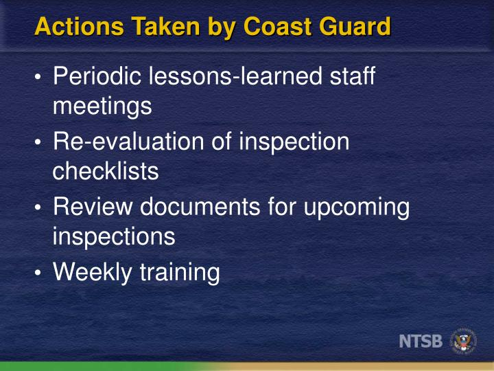 Actions Taken by Coast Guard
