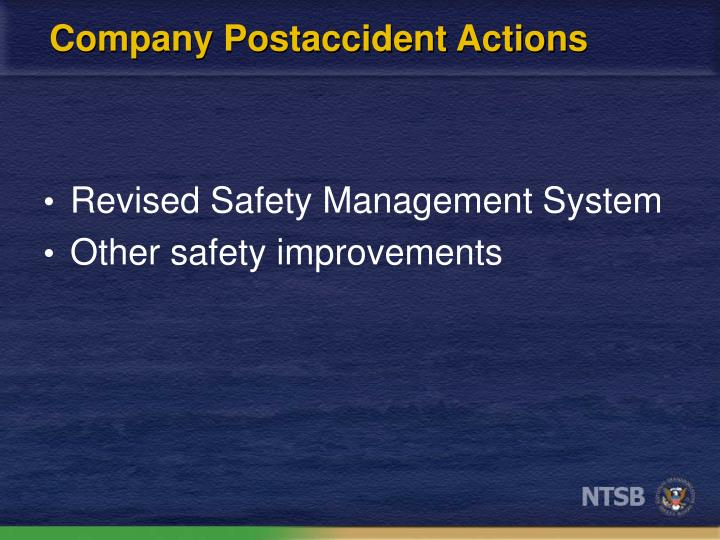 Company Postaccident Actions