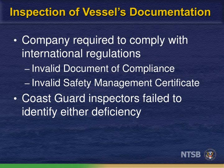 Inspection of Vessel's Documentation