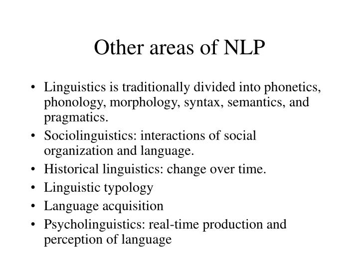 Other areas of NLP
