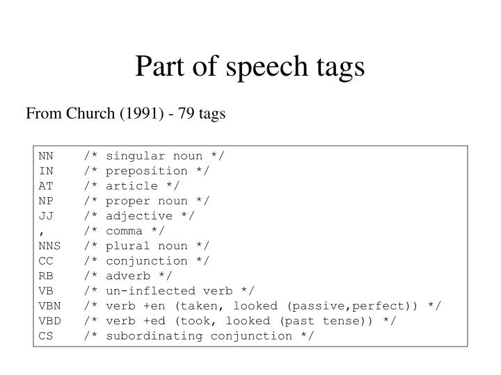 Part of speech tags