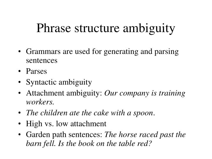 Phrase structure ambiguity