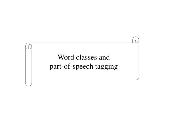 Word classes and