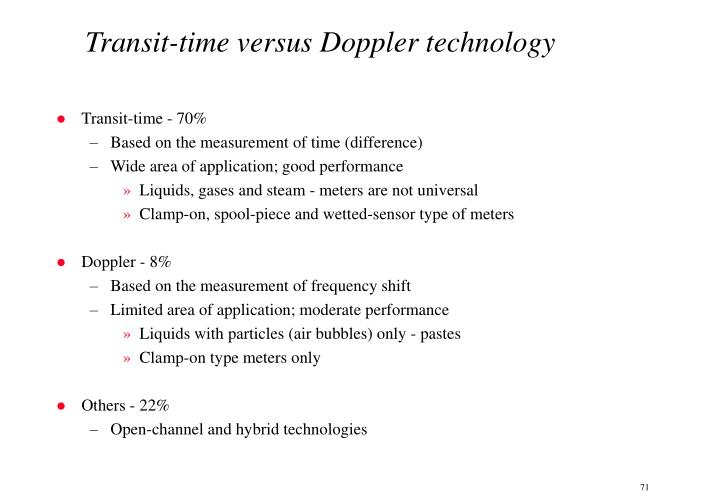 Transit-time versus Doppler technology