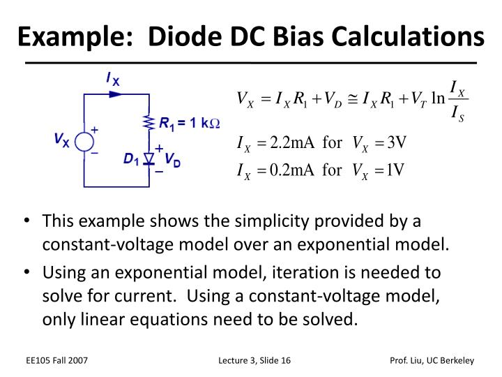 Example:  Diode DC Bias Calculations