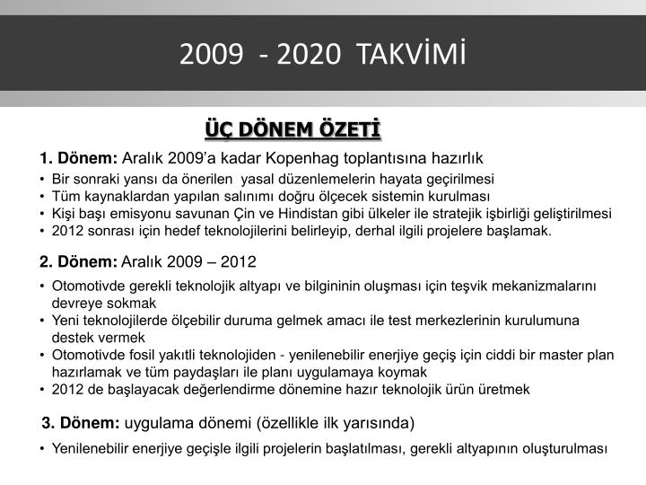 2009  - 2020  TAKVİMİ