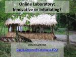 online laboratory innovative or infuriating