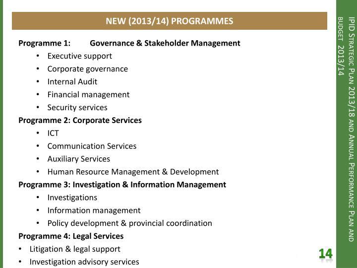 NEW (2013/14) PROGRAMMES