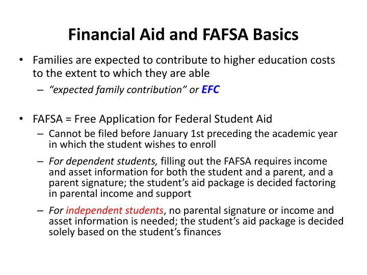 Financial Aid and FAFSA Basics