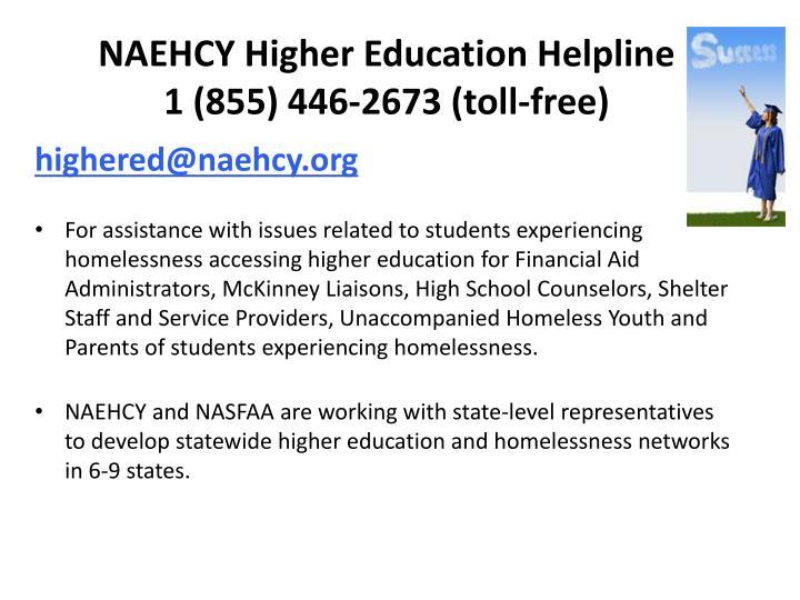 NAEHCY Higher Education Helpline