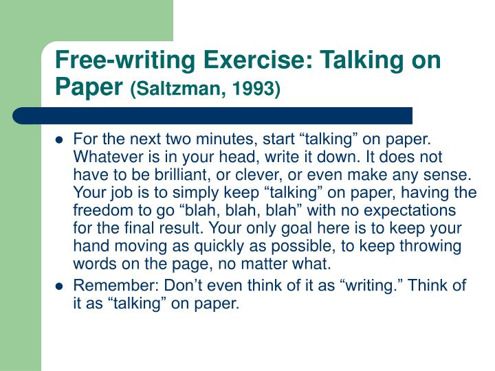 Free-writing Exercise: Talking on Paper