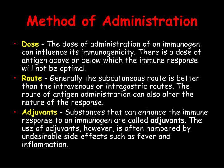 Method of Administration