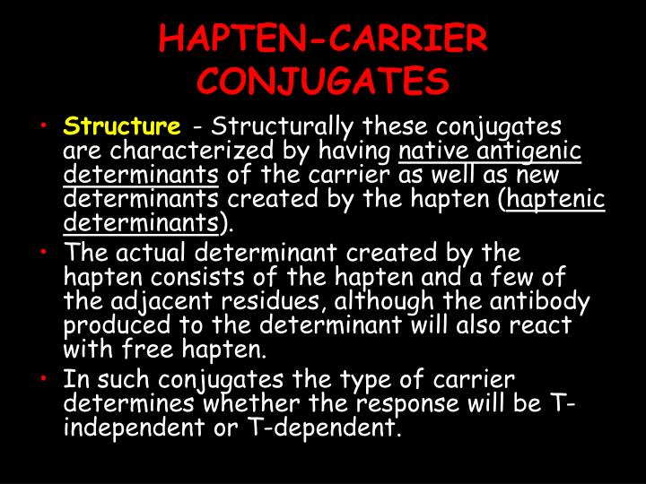 HAPTEN-CARRIER CONJUGATES