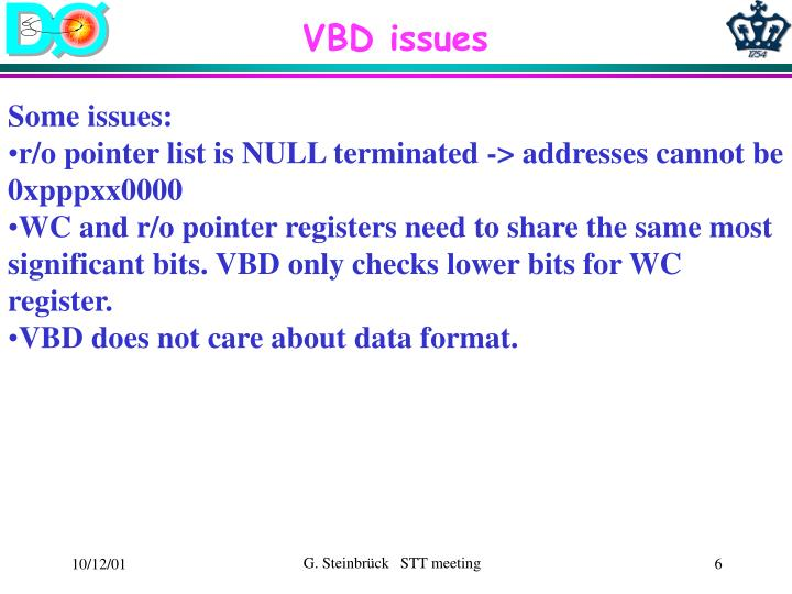 VBD issues