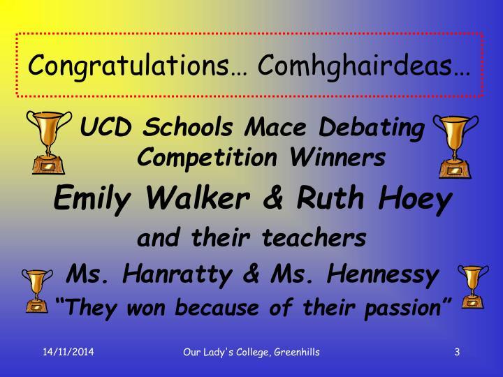 Congratulations comhghairdeas