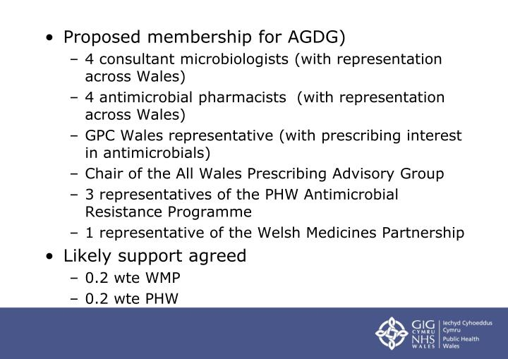 Proposed membership for AGDG)
