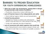 barriers to higher education for youth experiencing homelessness
