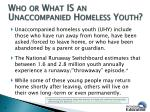who or what is an unaccompanied homeless youth