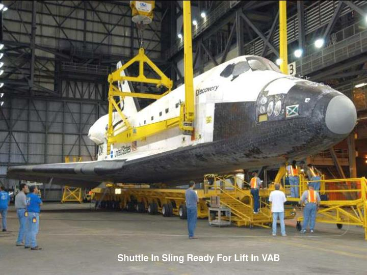 Shuttle In Sling Ready For Lift In VAB