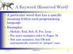 a keyword reserved word