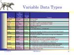 variable data types