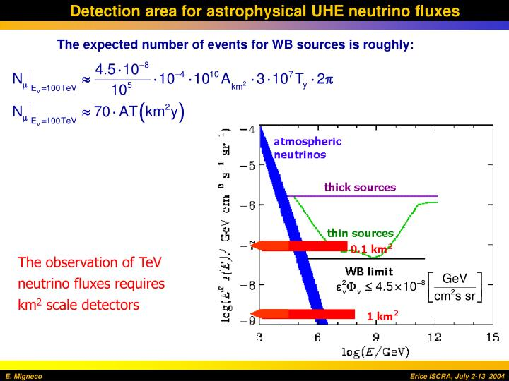 Detection area for astrophysical UHE neutrino fluxes