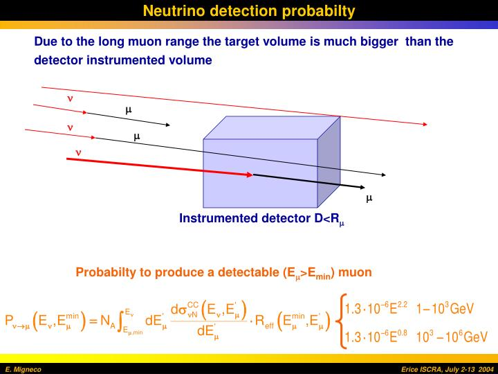 Neutrino detection probabilty