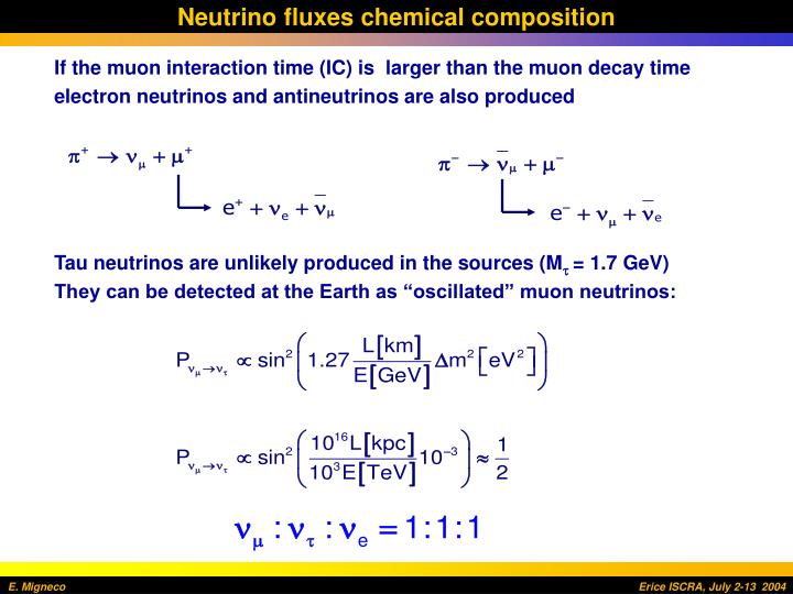 Neutrino fluxes chemical composition