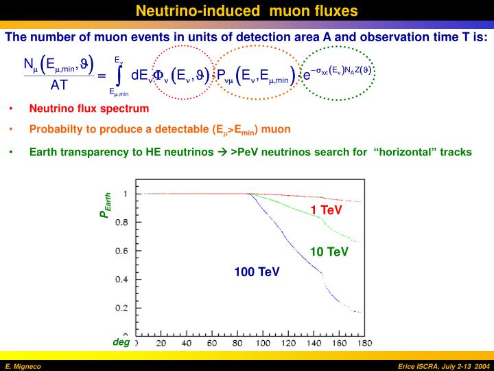 Neutrino-induced  muon fluxes