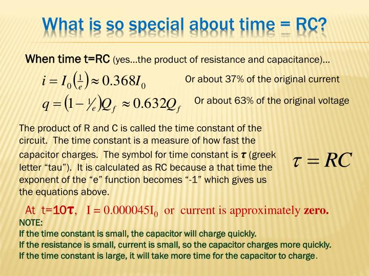What is so special about time = RC?