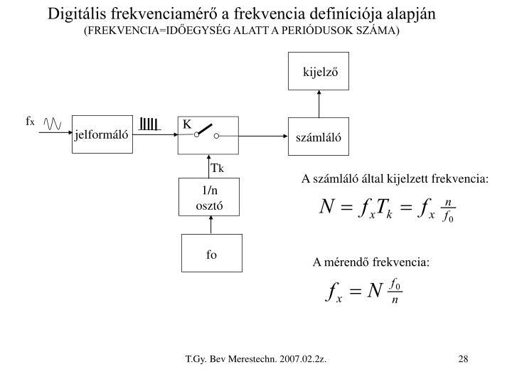 Digitális frekvenciamérő a frekvencia definíciója alapján