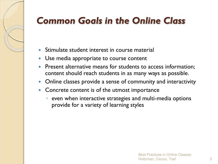 Common goals in the online class