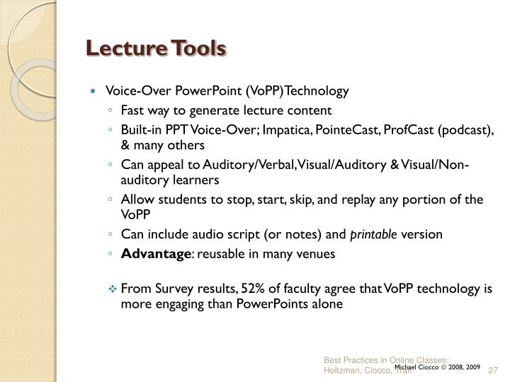 Lecture Tools