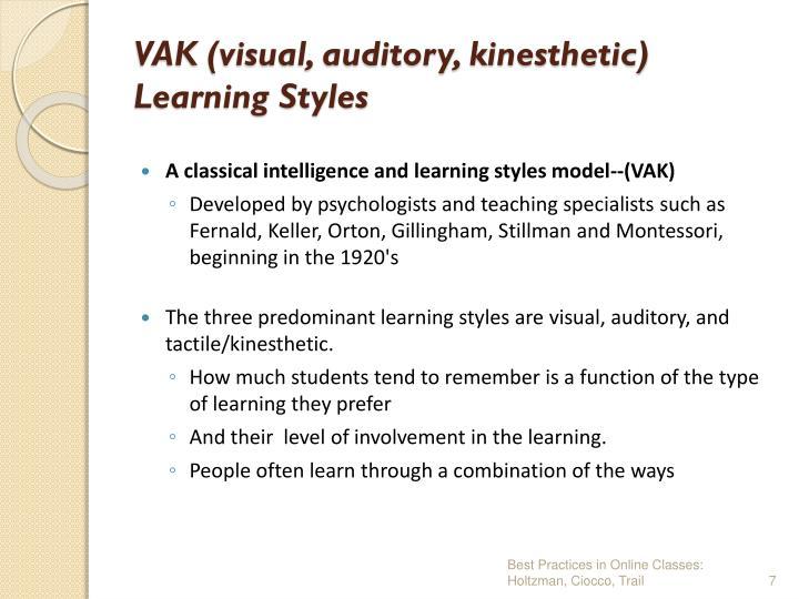 VAK (visual, auditory, kinesthetic)