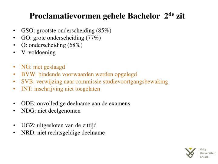 Proclamatievormen gehele Bachelor  2