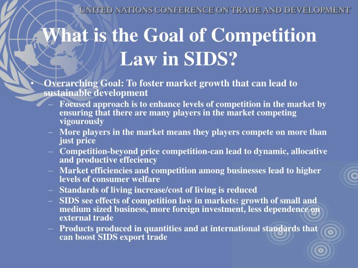 What is the Goal of Competition Law in SIDS?
