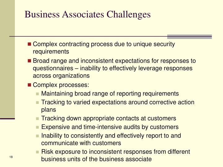 Business Associates Challenges