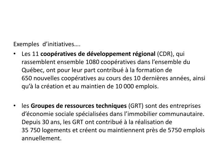 Exemples  d'initiatives….