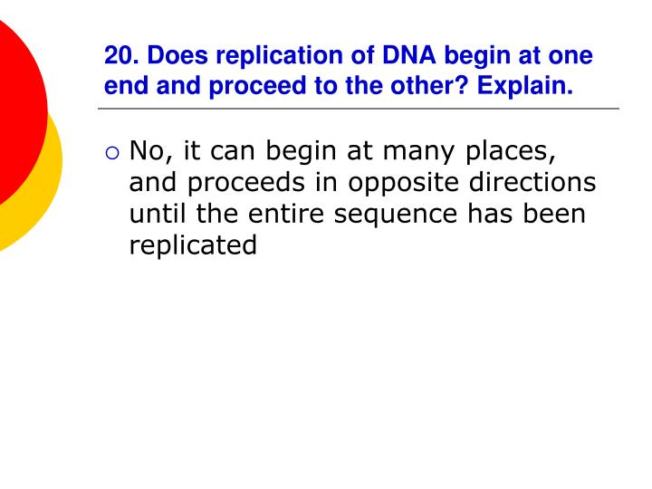 20. Does replication of DNA begin at one end and proceed to the other? Explain.