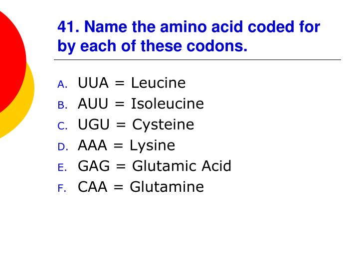 41. Name the amino acid coded for by each of these codons.