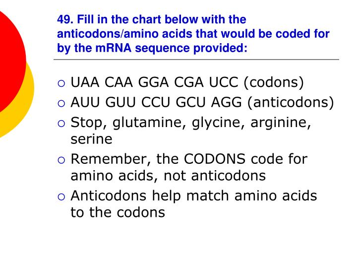 49. Fill in the chart below with the anticodons/amino acids that would be coded for by the mRNA sequence provided: