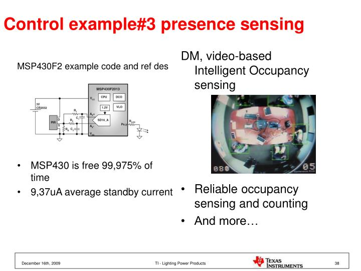 Control example#3 presence sensing