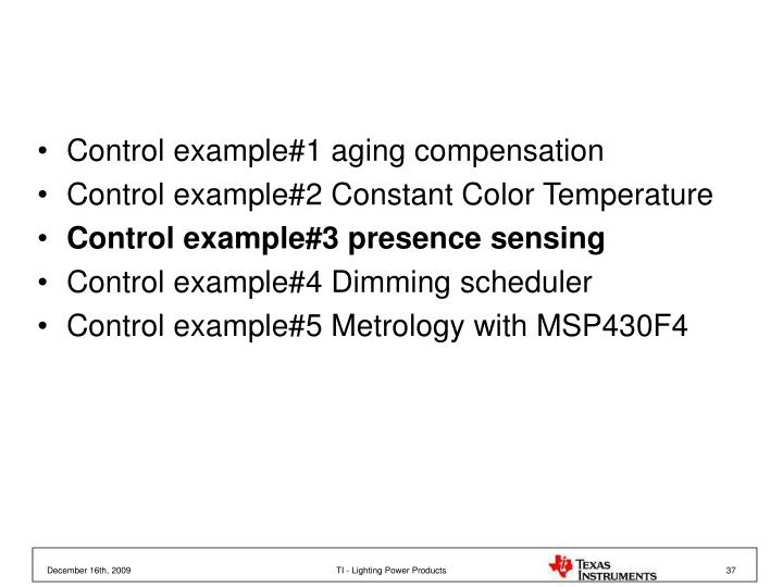 Control example#1 aging compensation