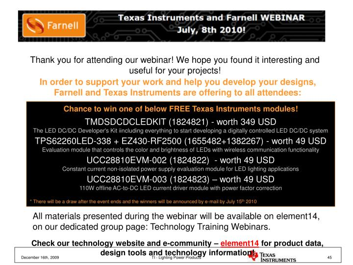 Thank you for attending our webinar! We hope you found it interesting and useful for your projects!